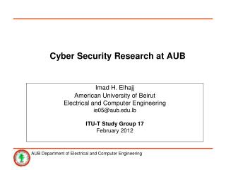 Cyber Security Research at AUB