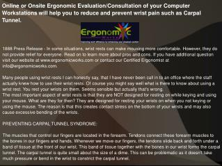 Online or Onsite Ergonomic Evaluation/Consultation
