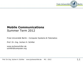 Mobile Communications Summer Term  2012
