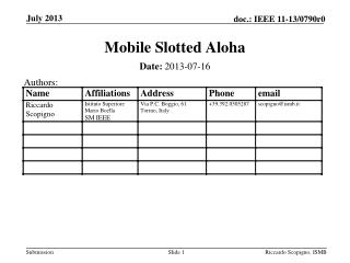 Mobile Slotted Aloha