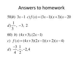 Answers to homework