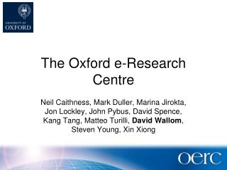 The Oxford e-Research Centre
