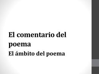 El comentario del poema