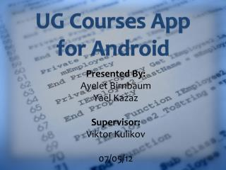 UG Courses App for Android