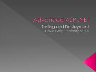 Advanced ASP .NET