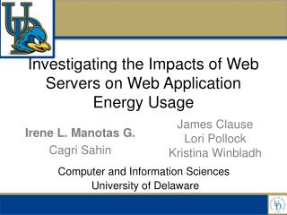 Investigating the Impacts of Web Servers on Web Application  Energy  Usage