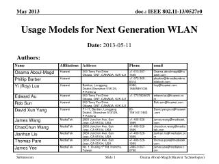 Usage Models for Next Generation WLAN