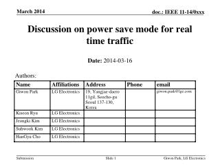 Discussion on power save mode for real time traffic