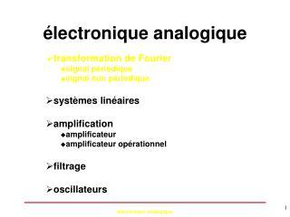 lectronique analogique