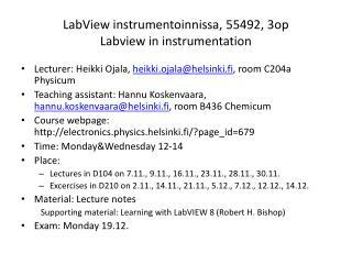 LabView instrumentoinnissa, 55492, 3op Labview in instrumentation