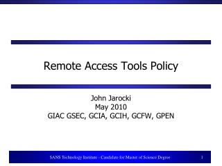Remote Access Tools Policy