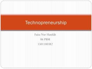 Technopreneurship