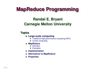 MapReduce  Programming