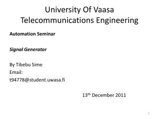 University Of Vaasa Telecommunications Engineering