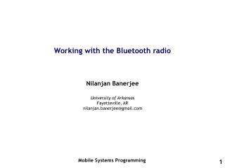 Working with the Bluetooth radio