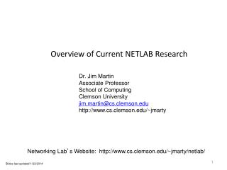 Overview of Current NETLAB Research