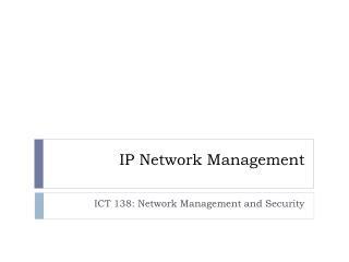 IP Network Management