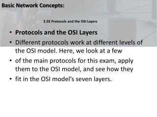 Protocols and the OSI Layers