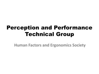 Perception and Performance  Technical Group