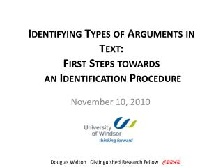 Identifying Types of Arguments in Text: First Steps towards  an Identification Procedure