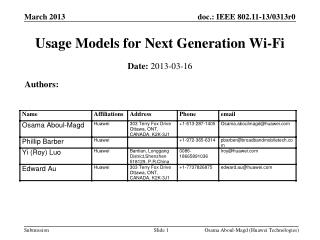 Usage Models for Next Generation Wi-Fi