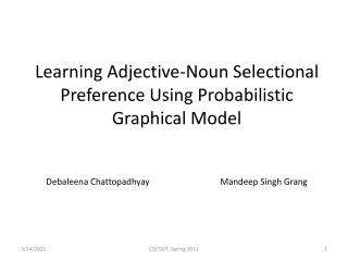 Learning Adjective-Noun  Selectional  Preference Using Probabilistic Graphical Model