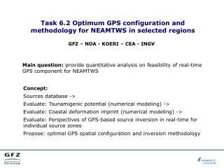 Task 6.2 Optimum GPS configuration and methodology for NEAMTWS in selected regions