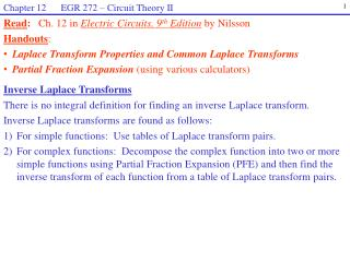 Inverse Laplace Transforms