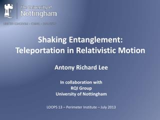 Shaking  Entanglement: Teleportation  in Relativistic Motion
