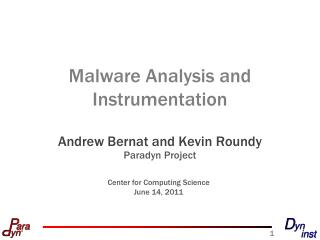 Malware Analysis and Instrumentation