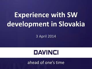 Experience with  SW  development  in Slovakia