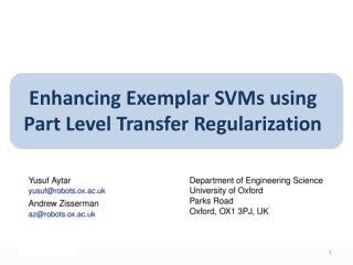 Enhancing Exemplar SVMs using Part Level Transfer Regularization
