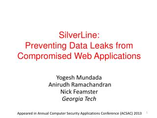 SilverLine:  Preventing Data Leaks from Compromised Web Applications