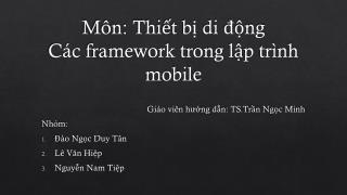 Môn :  Thiết bị  di  động Các  framework  trong lập trình  mobile