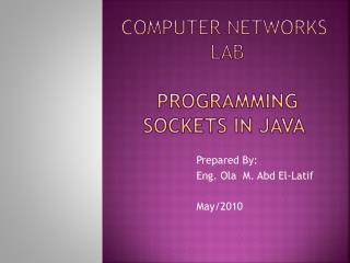 Computer Networks  Lab   Programming sockets in Java