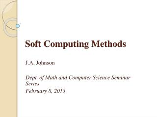 Soft Computing Methods