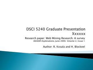 DSCI 5240 Graduate Presentation Xxxxxx