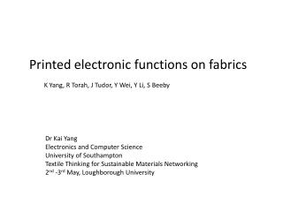 Printed electronic functions on fabrics
