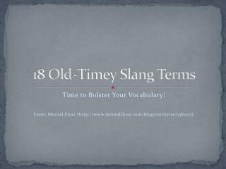 18 Old-Timey Slang Terms