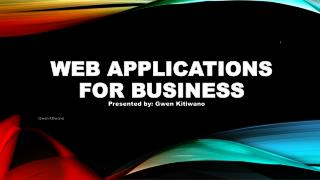 WEB APPLICATIONS FOR BUSINESS