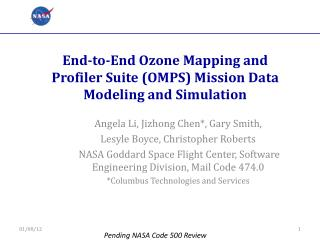 End-to-End Ozone Mapping and Profiler Suite (OMPS) Mission Data Modeling and Simulation