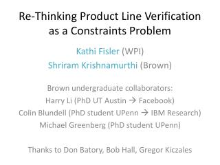Re-Thinking Product Line Verification as a Constraints Problem