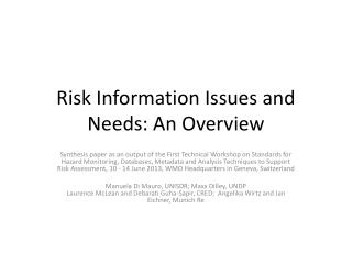 Risk Information Issues and Needs: An Overview