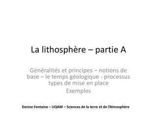 La lithosphère – partie A