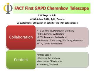 FACT First GAPD Cherenkov  Telescope