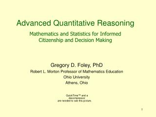 Advanced Quantitative Reasoning  Mathematics and Statistics for Informed Citizenship and Decision Making