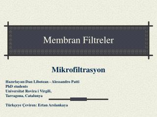 Membran Filtreler