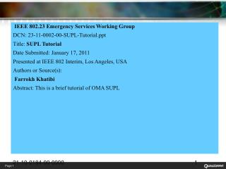 IEEE 802.23 Emergency Services Working Group DCN :  23-11-0002-00-SUPL-Tutorial