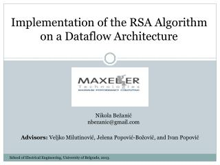 Implementation of the RSA Algorithm  on a Dataflow Architecture