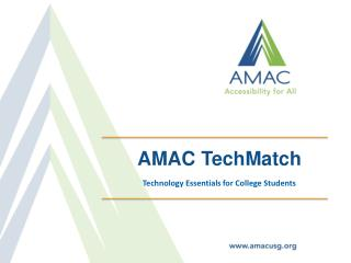 AMAC  TechMatch Technology  Essentials for College Students